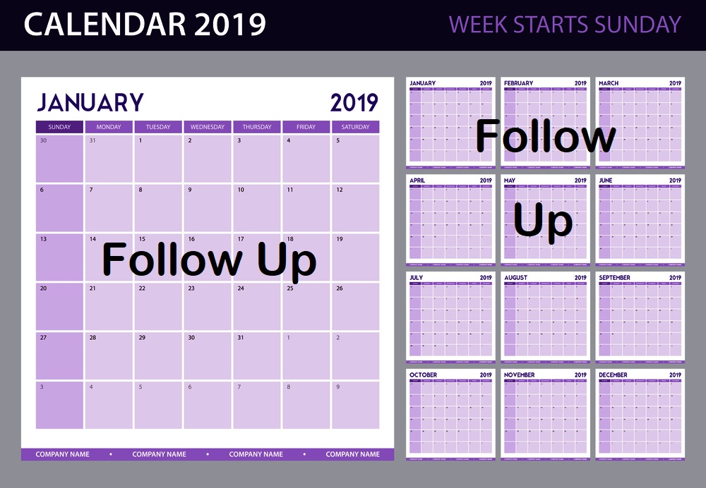 "2019 ""Follow Up"" Calendar"