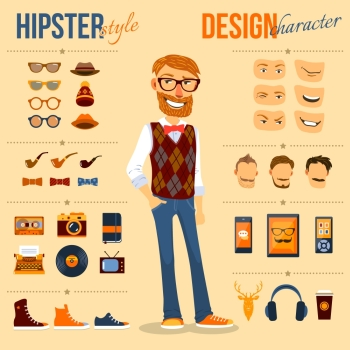 "Drawing of a man that has obvious taste for all things ""Hipster"""