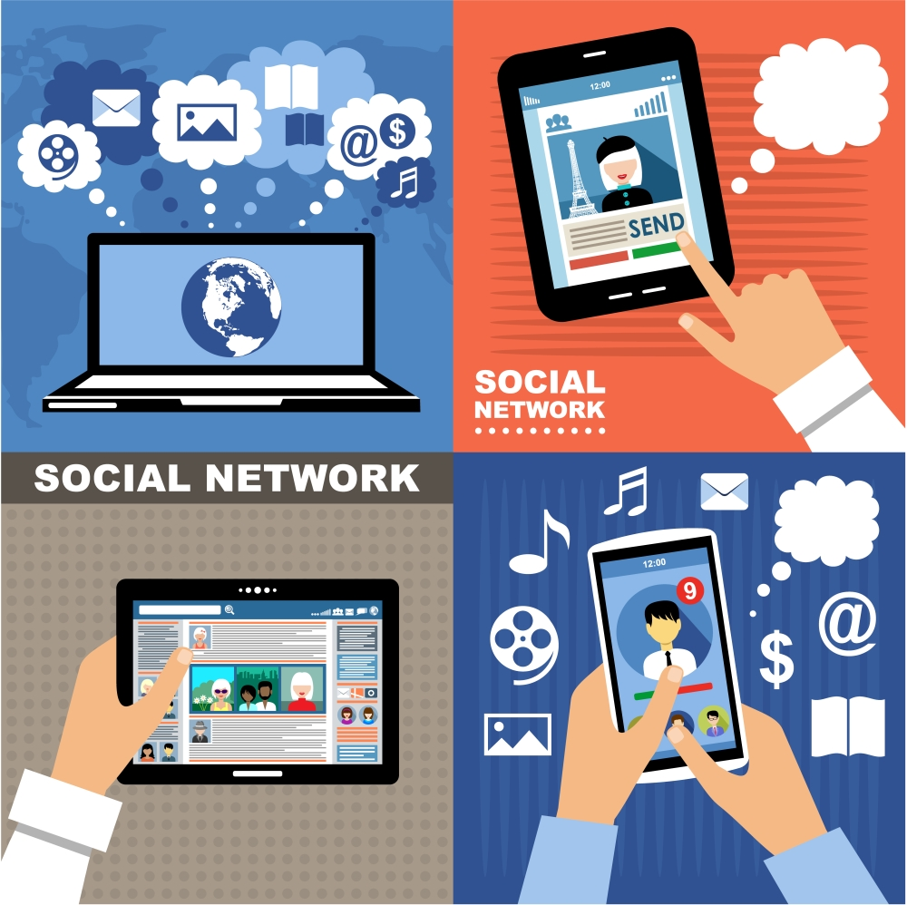 Image of several devices demonstrating social network usage.